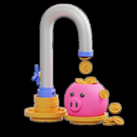 Money Faucet 3D Illustration