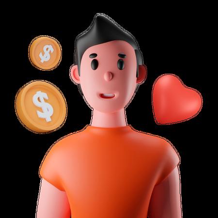 Money Investor 3D Illustration