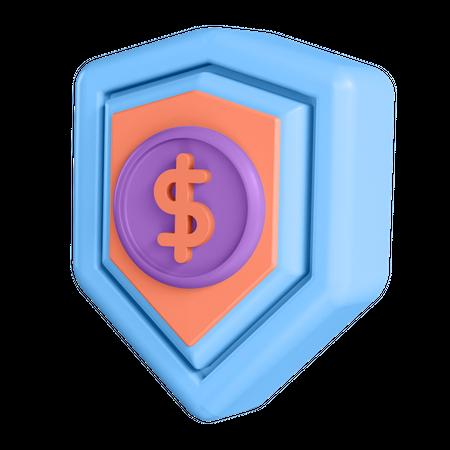Money Shield 3D Illustration