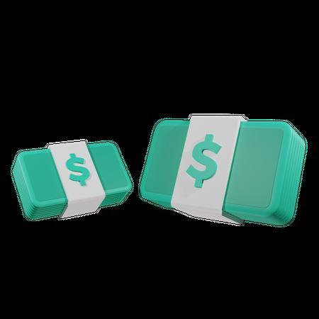 Money Stacks 3D Illustration