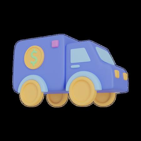Money Truck 3D Illustration