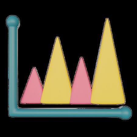 Mountain Chart 3D Illustration