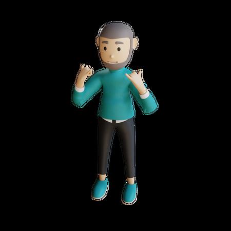 Muslim Businessman Doing Celebration 3D Illustration
