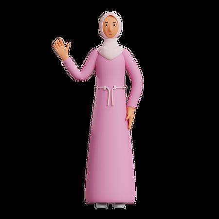 Muslim Businesswoman say Hello 3D Illustration