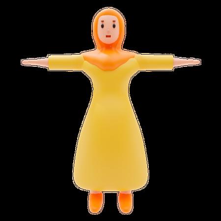 Muslim Girl 3D Illustration