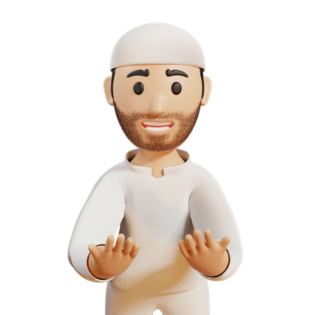Muslim man doing prayer 3D Illustration