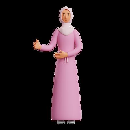 Muslim woman Talking 3D Illustration