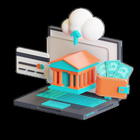 Net banking 3D Illustration