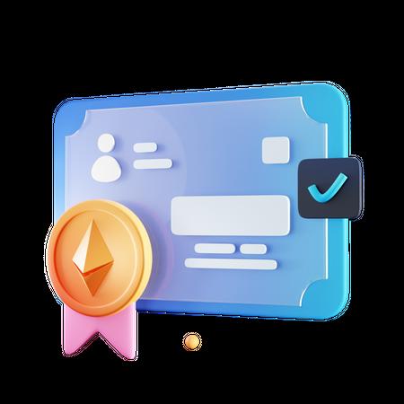Nft Certificate 3D Illustration