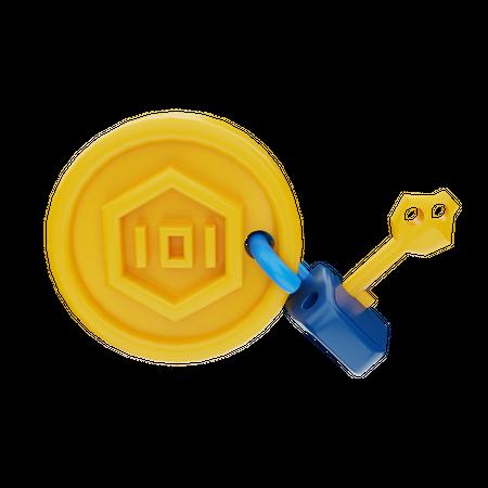 NFT Secured Lock 3D Illustration
