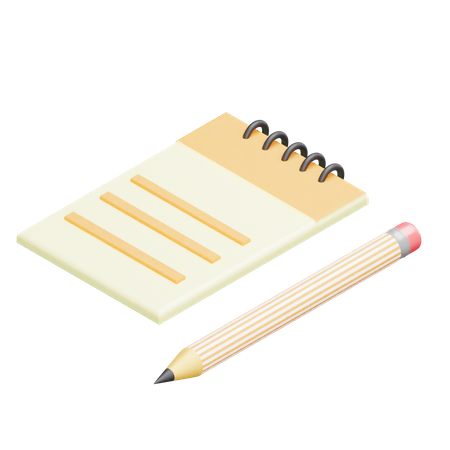 Notepad and Pencil 3D Illustration