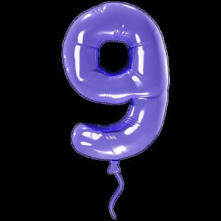 Number 9 3D Illustration