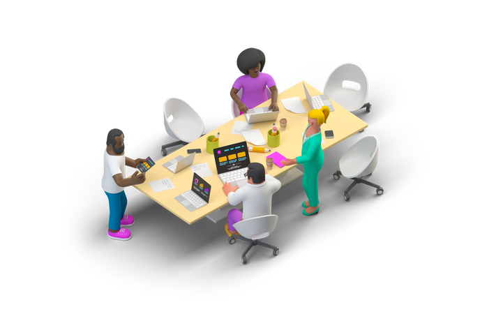 Office Meeting 3D Illustration