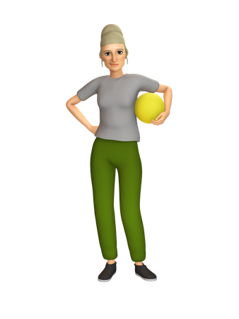 Old Woman holding ball in hand 3D Illustration