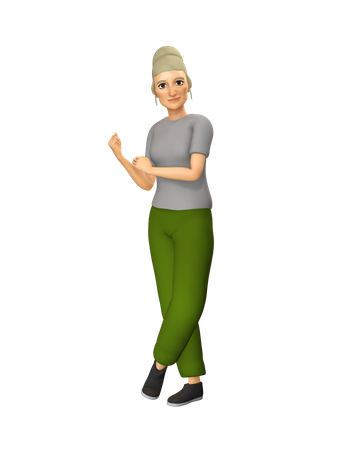 Old Woman taking care of fitness 3D Illustration