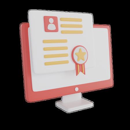 Online Certificate 3D Illustration