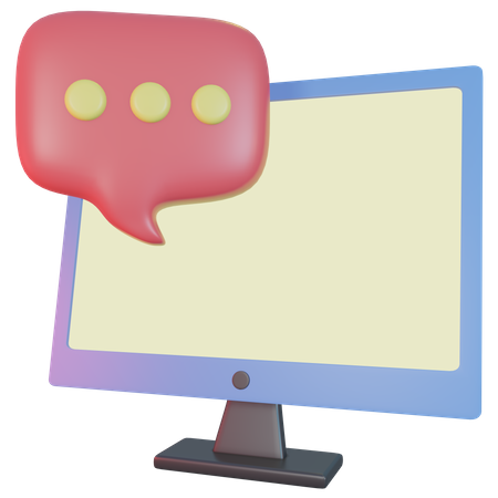 Online Chatting 3D Illustration