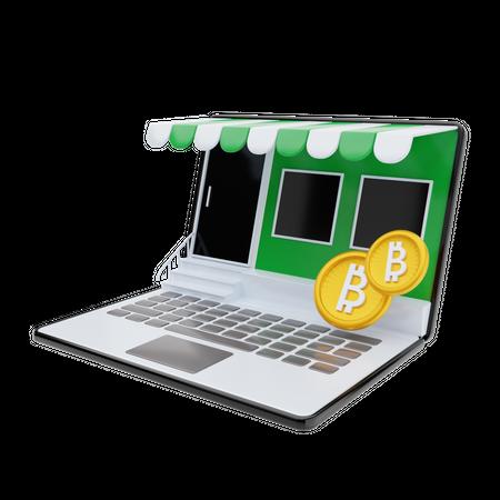 Online crypto market 3D Illustration