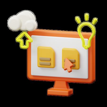 Online data storage 3D Illustration