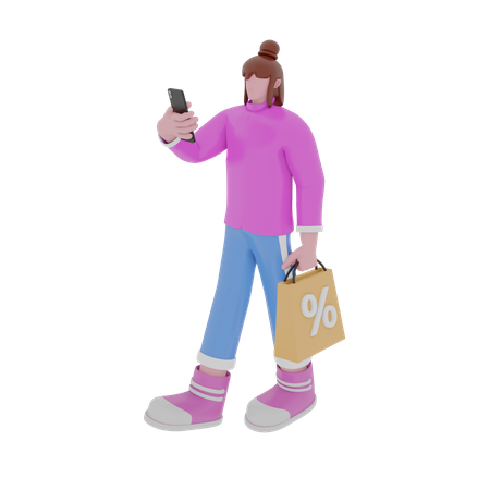 Online Discount on Shopping 3D Illustration