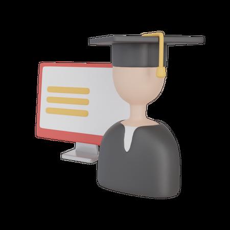 Online Graduation Desktop 3D Illustration