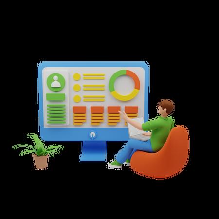 Online growth analysis 3D Illustration