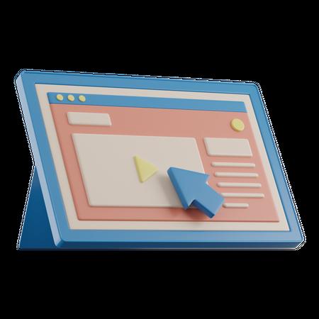 Online Learning On Tablet 3D Illustration