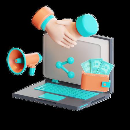 Online marketing deal 3D Illustration