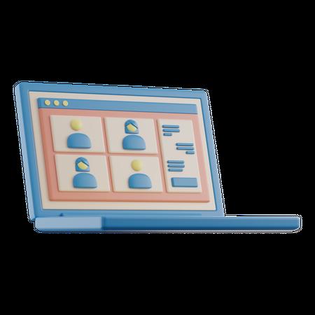 Online Meeting 3D Illustration