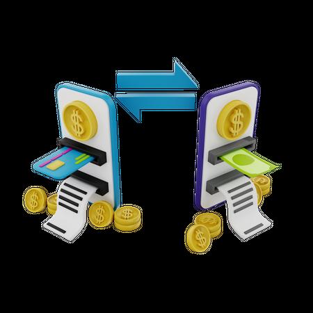 Online Money Transfer 3D Illustration