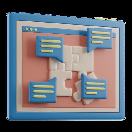 Online Puzzle Solving 3D Illustration