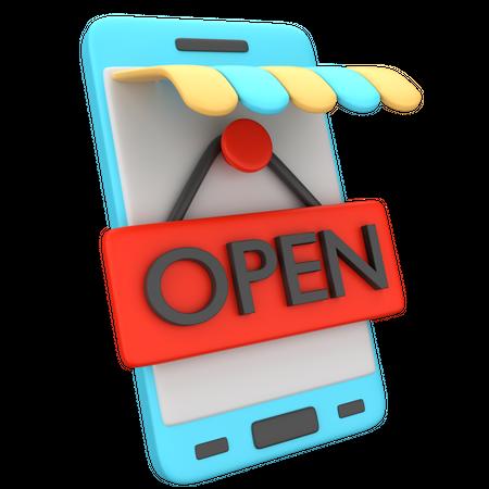 Online Shop Open 3D Illustration