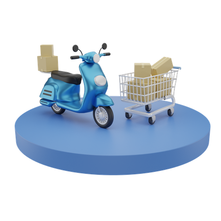 Online shopping and courier Service 3D Illustration