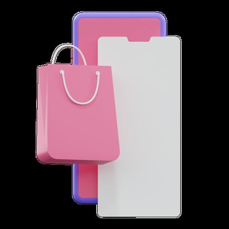 Online Shopping Bag 3D Illustration