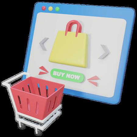 Online Shopping Cart 3D Illustration
