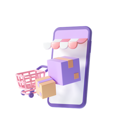 Online Shopping Delivery 3D Illustration