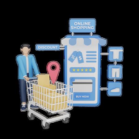 Online shopping discount 3D Illustration