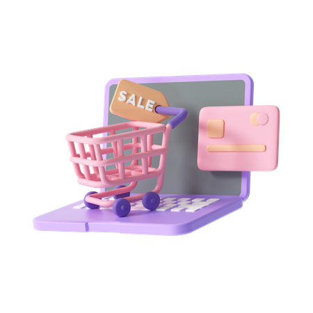 Online Shopping On Laptop 3D Illustration
