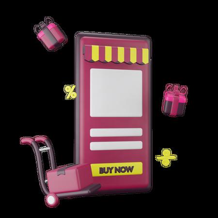 Online Store 3D Illustration