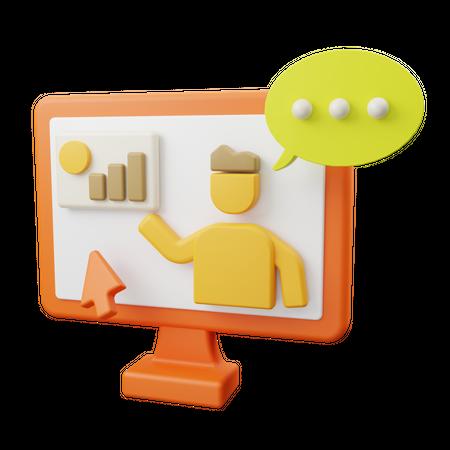 Online study analysis 3D Illustration