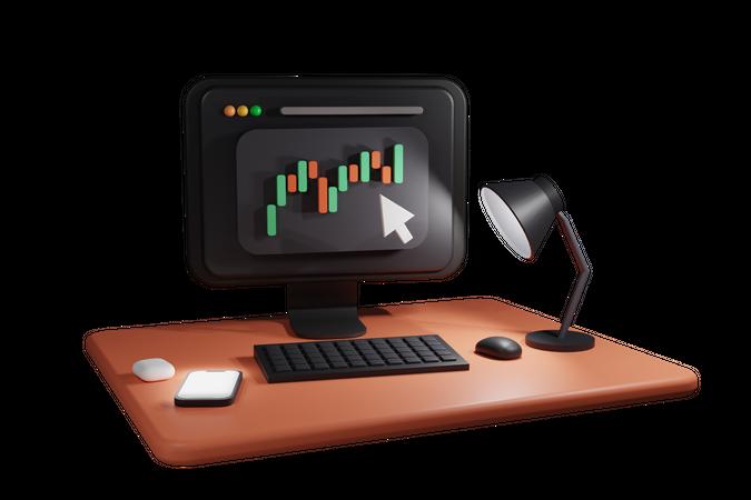 Online Trading 3D Illustration