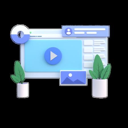Online Video 3D Illustration