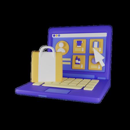 Online Website Shopping 3D Illustration