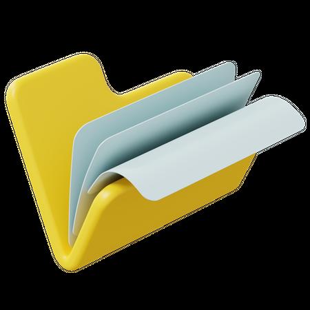 Open Folder 3D Illustration