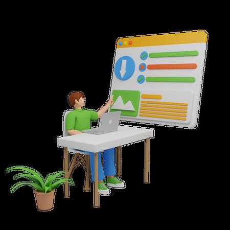 Organizing business data 3D Illustration