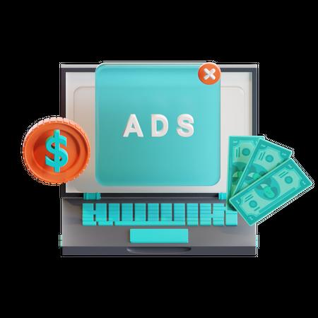 Paid ads 3D Illustration
