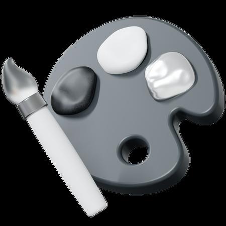 Paint Brush And Color Palette 3D Illustration