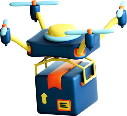 Parcel delivery by drone 3D Illustration