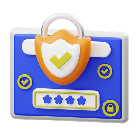 Password Protection 3D Illustration