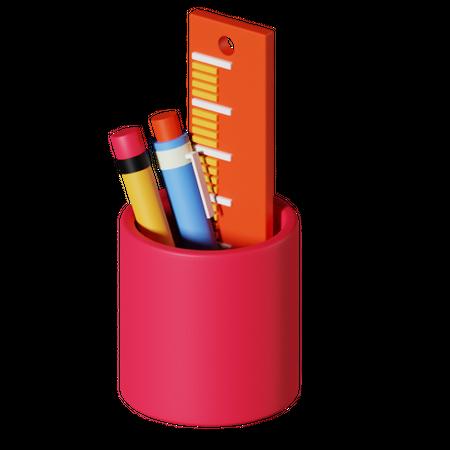 Pencil holder 3D Illustration